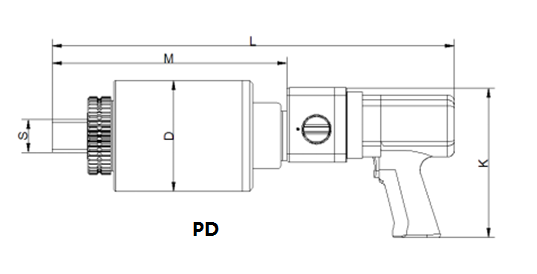 PD pneumatic torque wrench dimension